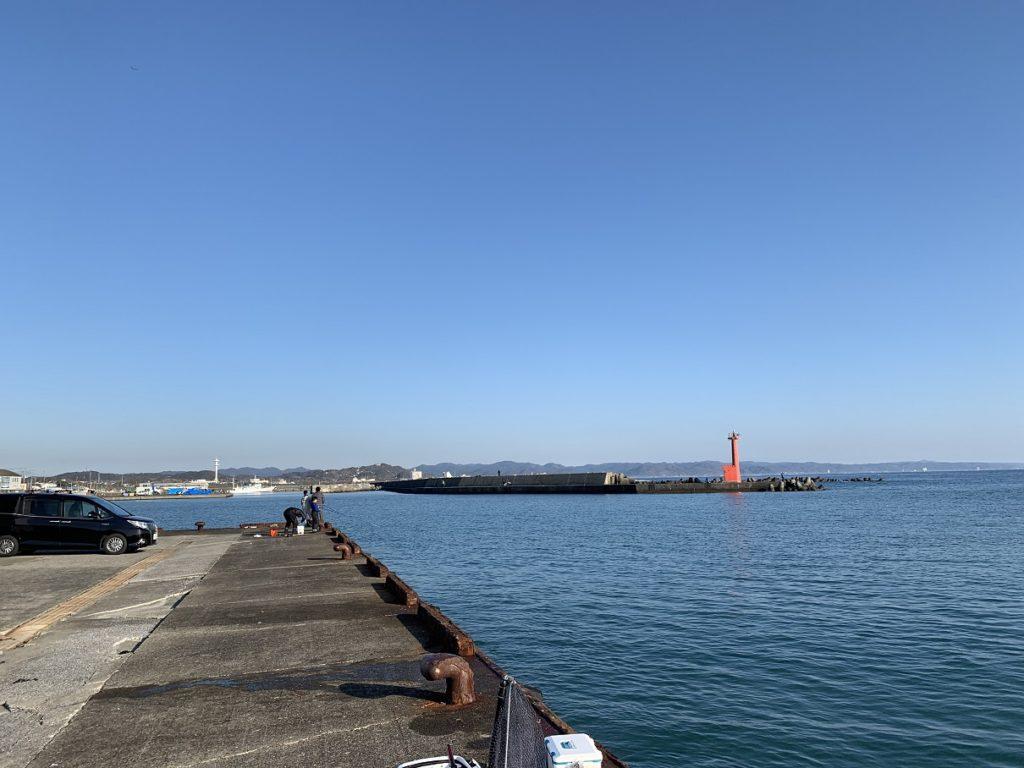 千倉港での釣り座1